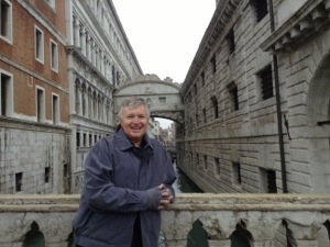 Wayne with view of Bridge of Sighs, Venice, Italy