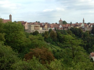 A view from one vantage point in Rothenburg on the wall across the valley to another