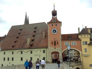 Scene from the Altstadt, a UNESCO World Heritage Site in Regensburg, Germany