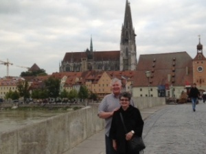 Wayne & Kathy on Stone Bridge in Regensburg, Germany - 09/23/2013