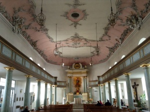 Schlosskirche, or Palace Church, a symbol and distinctive landmark of Bayreuth, initially a Protestant Church, as of 1813, a Catholic Church