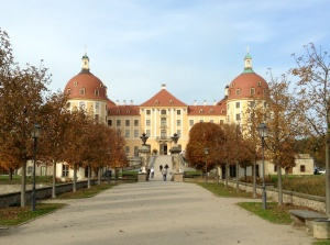 Approaching front entry of Moritzburg Castle, hunting lodge of Saxon royalty