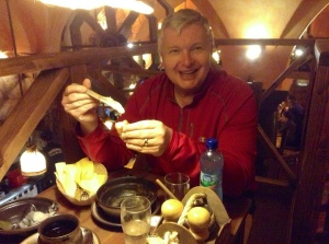 Eating lard on bread in a traditional Polish restaurant in Wroclaw