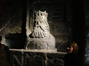 One of the salt statues carved in the salt mine