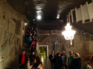 Descending into the St. Kinga's Chapel, dating from the 1600s, in the Wieliczka Salt Mine