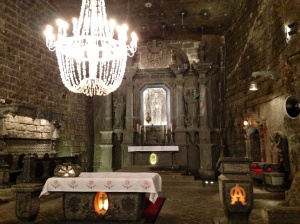 The chapel is all salt--even the chandelier--in the bowels of the earth
