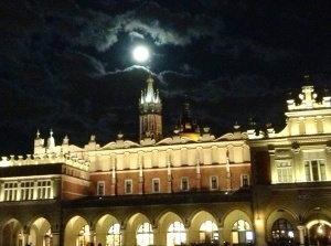 Nighttime full moon in Krakow's Old Town, October 18, 2013