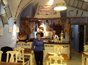 Traditional Polish restaurant in Krakow where we ate pierogi and sour rye soup.