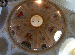 The frescoed dome of the Frauenkirche just steps from our apartment
