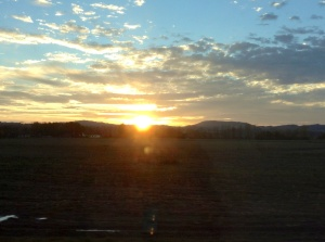 Sun was setting as we left Cesky Krumlov for our return to Prague.