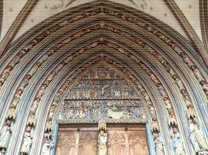 Cathedral door in Freiburg, Germany