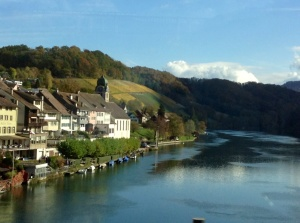 Crossing the Rhine River in Switzerland