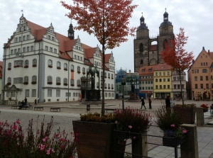 Wittenberg, Germany Square showing facade of the Town Church where Martin Luther preached and taught October 5, 2013