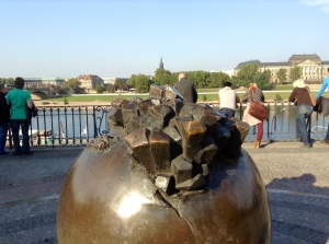 Overlooking the River Elbe is another reminder of the destruction that occurred in Dresden on February 13, 1945.