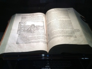 Bible translated into the German language by Martin Luther on display in the Cathedral Dom, Meissen, Germany
