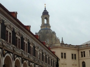 Restoration work continues in Dresden following the World War II devastation.