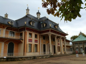 One wing of Pillnitz Castle on the central courtyard