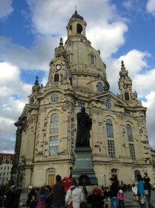 The beautiful Frauenkirche in Dresden with the statue of Martin Luther in the forefront