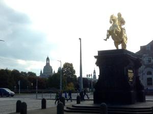 Statue in Dresden's Neumarkt of a Saxon King