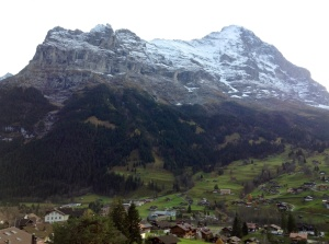 View of Grindelwald, Switzerland, from the balcony of the Belvedere Hotel