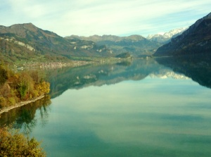 View from the train between Lucerne, Switzerland, and Interlaken Ost