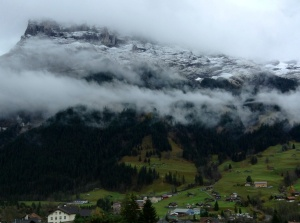 View of cloud-covered Eiger Mountain, Grindelwald, Switzerland