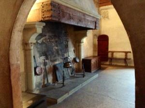 Kitchen fireplace in Chateau de Chillon near Montreux, Switzerland