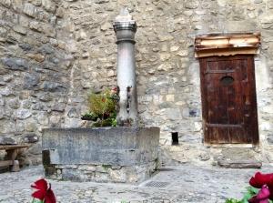 Courtyard scene at Chateau de Chillon on Lake Geneva, Switzerland