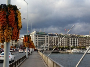 Geneva, Switzerland - Crossing the bridge on foot