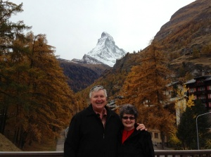 Wayne & Kathy in Zermatt with Matterhorn behind