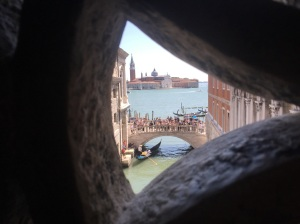 Overlooking the Grand Canal while on the Bridge of Sighs