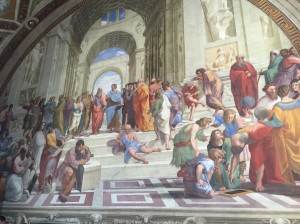 A portion of an entire room fresco by Raphael known as The School of Athens