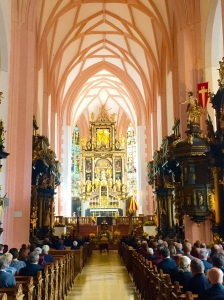 "The beautiful church in Mondsee, Austria, in which the wedding between Captain von Trapp and Maria was filmed in the movie, ""The Sound of Music."""