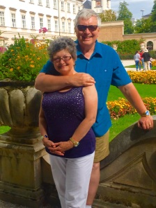 Wayne and Kathy happily immersed in the beauty of Salzburg's Mirabell Gardens