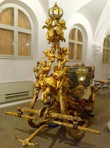 One of the sleighs of Ludwig II found in the museum at Scloss Nymphenburg in Munich