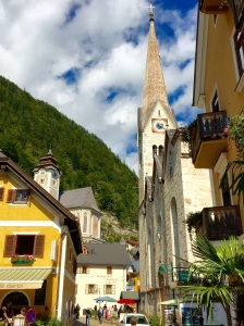 A Hallstatt, Austria, scene with the Catholic church on the left and the Lutheran church on the right
