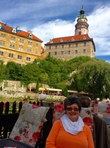 Enjoying lunch outdoors at the base of Cesky Krumlov's 13th century castle with the Vltava River flowing beside us