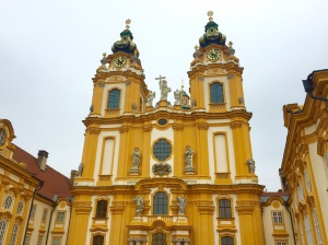 The Melk Abbey, home of Benedictine monks since 1089, prominently located in Melk, Austria