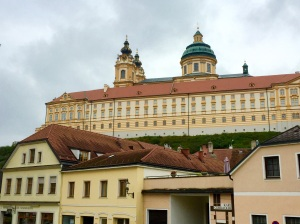 A view of part of the exterior of the Melk Abbey in Melk, Austria, where Benedictine monks have been living and working since 1089
