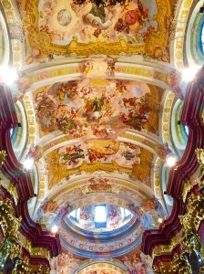 A scene from within the Melk Abbey Church, one of the most beautiful Baroque churches in the world