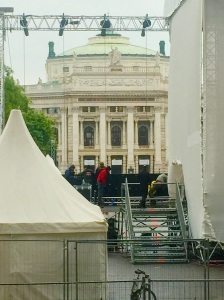 The Burg Theatre in Vienna, Austria, where an outdoor festival is being set up