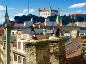 The view from our Bratislava apartment on the fifth floor of  the Old Town  (Stare Mesto) that includes the Bratislava Castle