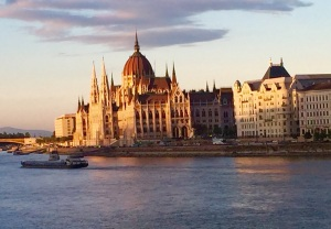The Parliament Building in Budapest, Hungary, overlooking the Danube River