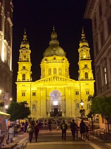 Evening exterior of St. Stephen's Basilica in Budapest
