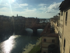 Ponte Vecchio Bridge as seen from a window in the Uffizi Gallery in Florence, Italy