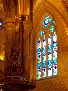 A stained glass window in Budapest's Matthias Church