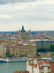 A view from Castle Hill  that includes St. Stephen's Basilica across the Danube River
