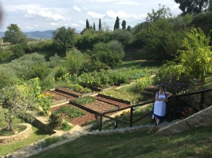 Kathy in the garden of the Tuscan farmhouse where our cooking class was held