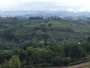 The Tuscan countryside with a view of San Gimignano