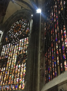 One of the stained glass windows in Milan's Duomo portraying in pictures the stories from the Bible intended to instruct those who were illiterate in the message of salvation through Christ